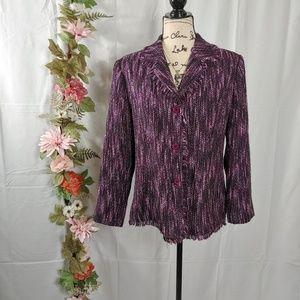 Dress Barn Purple Frayed Tweed Blazer size 10